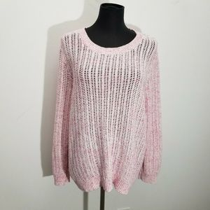 Talbots Sweater Marled Open Knit Cotton Pullover